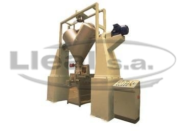 Mixing and bagging off installation consisting of a B-2000-CA mixer with vacuum loading system and S-50-T bagging off machine