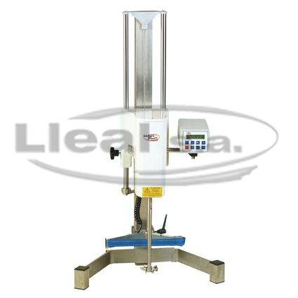 Laboratory agitator model ML-40 equipped with cowles type propeller and belt type gripping mechanism for holding the containers in position