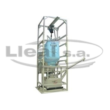 Big-bags unloader made of iron,mounted on a tilted to control the dosed product. Equipment designed for dosificacin of titanium dioxide