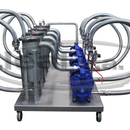 Mobile filter group model FX-40-FA-TTT / EBF-0101, composed of 4 DEPA pneumatic diaphragm pumps and basket filter size 1. Prepared for working in Atex zone.