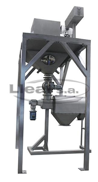 Instalación de molienda y tamizado en cascada. Molino Komodín K-500-P, válvula dosificadora D-10 para alimentar con caudal constante la tamizadora Mod. CEN-800.