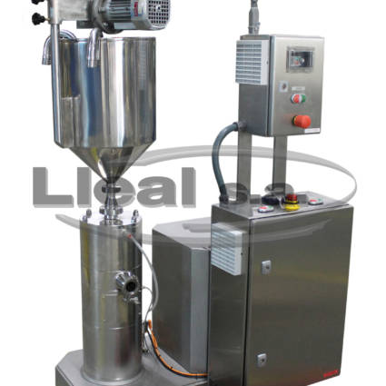 Mod. MHE 2/3 AV 80 Three Stage Emulsifier, fed through a stirred hopper with two product inlets for continuous emulsification.