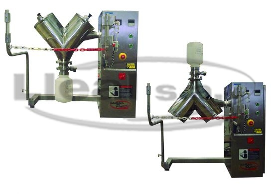 """Laboratory """"V"""" mixer model BL-16 with special coupling system to help on loading and unloading of the mixer."""