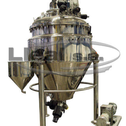 MAX-MIX 1000 liters with screwed lid; ready to work with vacuum and pressure. Designed for the pharmaceutical sector.