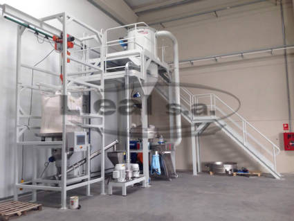 Milling and screening system made up of Big-Bag unloader dosing unit that feeds a MMS-200 mill, which in turn feeds a K-1200 Vibroclass circular vibrating screen. The output of the screen connects to a ST-50 bagging machine for open mouth sacks.