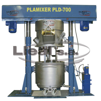 Planetary mixer PLD-700 with two stainless steel columns and double jacketed tank.