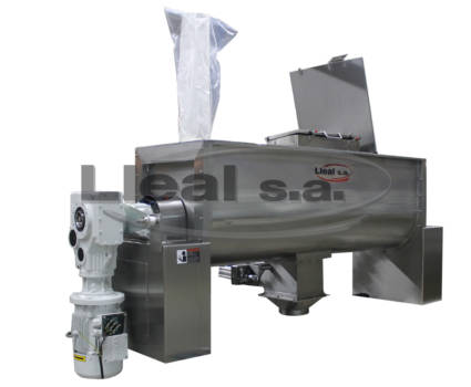 MB-1500-TA ribbon blender with expansion sleeve and oscillating flush bottom valve