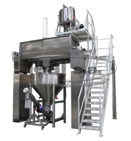Mixing installation composed of melting kettle in the upper part that discharges the hot syrup in the MB-700 ribbon blender. The blender is assembled over loading cells. Unloading into buffer hopper with endless screw. Equipment for human food sector.
