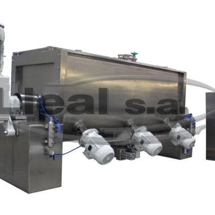MB-3000-TAI ribbon blender with 3 high-speed intensifiers assembled on the bottom of the blender.