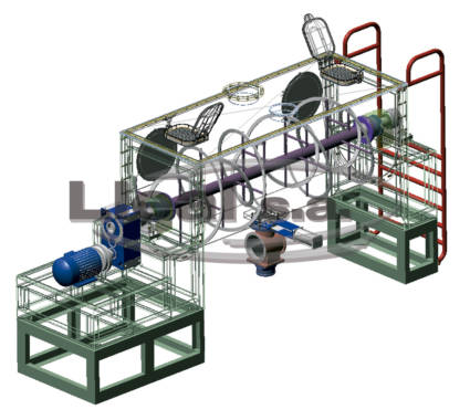 3D view of a MB-1500 ribbon blender with a rotary valve mounted on the mixer discharge