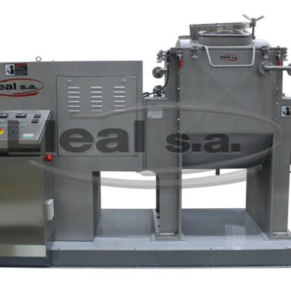 Knead machine Mod. AME-300-F with double jacket for heating / cooling of the trough and the heads. Electrical panel attached to the equipment. Equipment for the manufacture of human food.